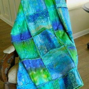 Green and Blue Batik Handmade Lap Quilt XL 52 x 61